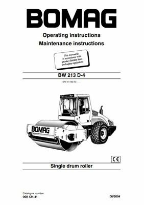 PDF Digital Download Bomag Operating & Maintenance Instructions BW 213 D-4