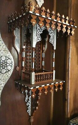 Antique Style Egyptian Wood Wall shelf Hand Work Arabesque Mother of Pearl Inlay