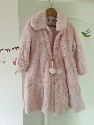 Widgeon Beautiful Girls Super Soft Coat In Powder Pink Age 4 Immaculate!