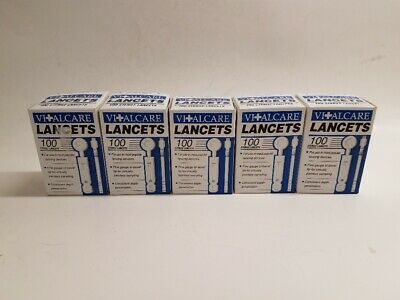 5 Boxes of 100 VitalCare Sterile Lancets Universal Fit NEW