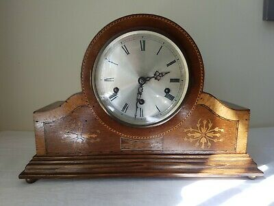Beautifully Antique Marquetry Inlaid Mantle Westminster Chime Clock GGRM