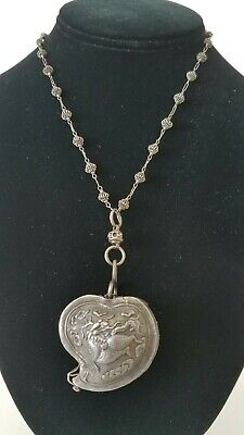Antique Chinese Qing Dynasty Silver Repousse Heart Locket Hinged Box Necklace