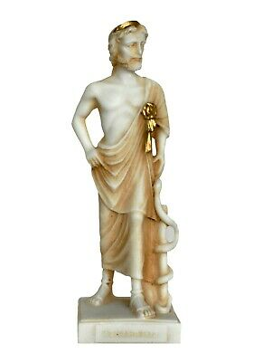 Asclepius God of Medicine and Healing small Alabaster aged statue - Health God