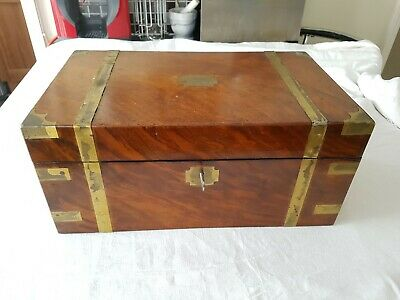 Superb Antique Brass Inlaid Mahogany Writing Slope Secret Hidden Draw Trapdoor