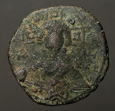B27-04  BYZANTINE. Anonymous Æ Follis, Class B, 1028-1034AD, Jesus with gospels