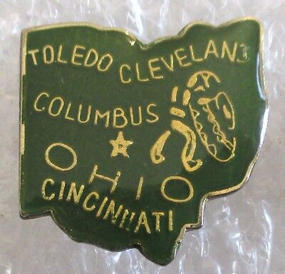 Vintage State of Ohio Map Travel Souvenir Collector Pin