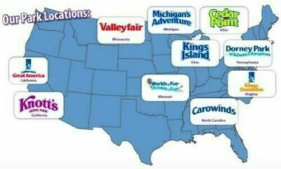 (2) Cedar Fair Theme Park Tickets. Cedar Point, Kings Island, Carowinds and more
