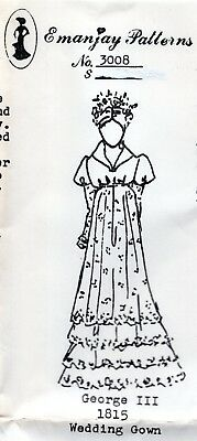 1:12 scale Emanjay Dollhouse Doll Clothes pattern#2133 Mae West Gown uncut