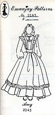 1:12 scale Emanjay Dollhouse Doll Clothes pattern #2002 1870/'s Young Girls Dress