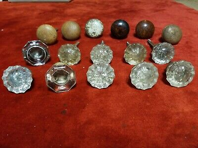 Vintage Ornate Glass Wood Metal Door Handles Steampunk Salvage Rustic Craft Art