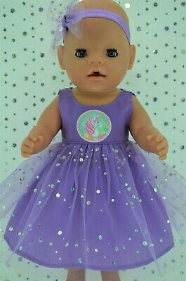 "Play n Wear Dolls Clothes To Fit 17"" Baby Born LILAC SEQUIN DRESS~HEADBAND"