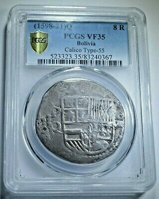 PCGS VF35 1598-1621 Spanish Potosi Silver 8 Reales Cob Eight Real Colonial Coin