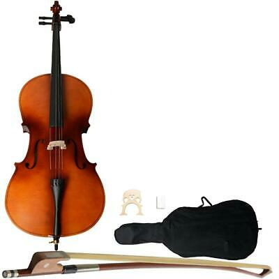 4/4 Full Size Acoustic Model Cello Solid Wood Maple Basswood + Case Bow Rosin US