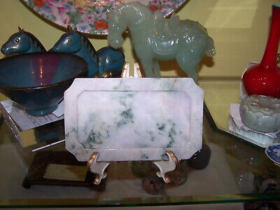 Antique Jade Chinese Tray Bowl Green Celadon Mix Rust  Lavender Plate