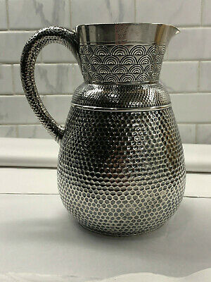 Kennard Jenks Aesthetic Movement Hammered Beer Pitcher C.1880 Boston Sterling