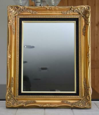 Beautiful Vintage Ornate Gold Gesso Wood Framed Mirror Black Felt Matte 23 x 19