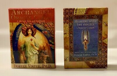 Archangel Oracle Cards Deck Of 45 and Healing With Angels Of 44 by Doreen Virtue