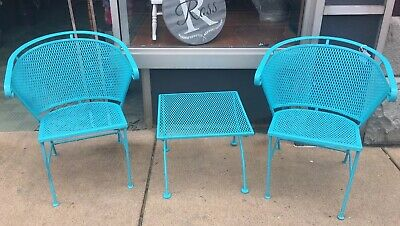 Vintage Wrought Iron Salterini Metal Curved Patio Outdoor Chairs Table 3pc