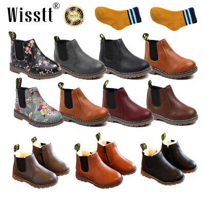 Kids Shoes Leather Ankle Martin Boots Warm Youth Boys Girls Winter Children Size