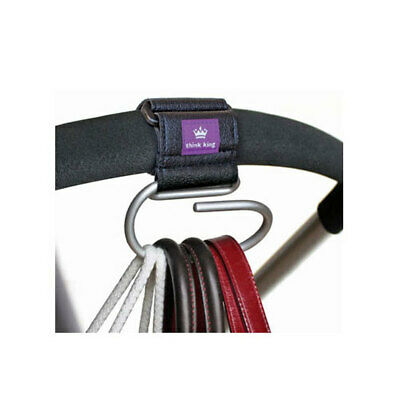 Think King Jumbo Swirly Hook for Strollers/Walkers Brushed Aluminum/Black/Purple