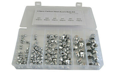Hex Dome Nut Kit M3 M4 M5 M6 M8 M10 Carbon Steel Grade Acorn Nut 170 Pc
