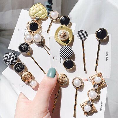 Women Girl Pearl Hair Clip Snap Barrette Stick Pin Hair Accessories Party