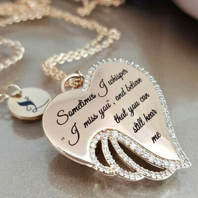 """Chic """"I Miss You"""" CZ  Silver Angel's Wings Women Pendant Necklace Jewelry Gifts"""