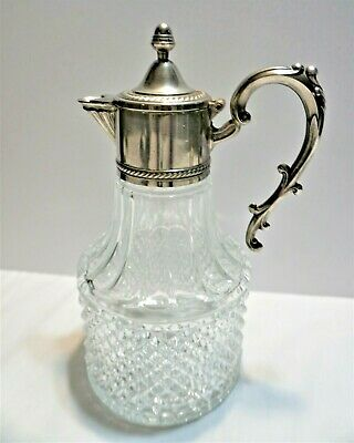 Silver plated and crystal Claret bottle w ice tube by Leonard