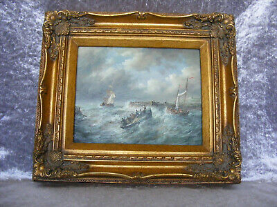 """Antique Style Oil Painted """"Storm on the Sea"""" Picture in Ornate Gold Gilt Frame"""