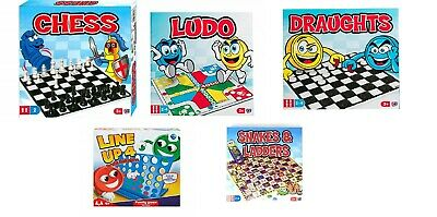 Traditional Board Games Set Family Children CHESS LUDO DRAUGHTS SNAKES & LADDERS
