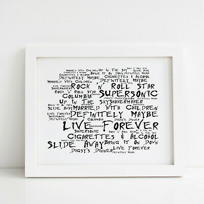 Oasis Poster, Definitely Maybe, Framed Original Art, Album Print Lyrics Gift