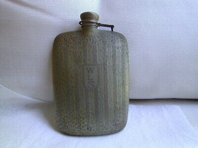 """Antique Victorian Hip Flask Monogrammed """"WLS"""" P.C.C.C. STYLO Co.  made in USA"""