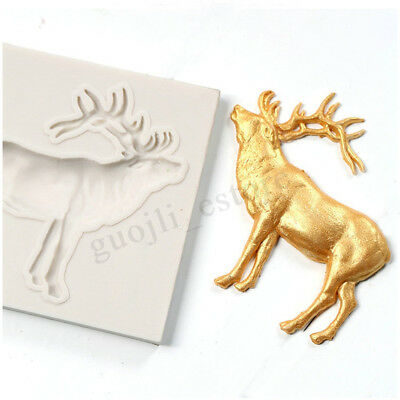 Christmas Silicone Elk Fondant Mold Cookies Chocolate Mould DIY Baking Tools