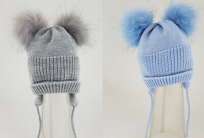 Kinder Baby Girls Boys Spanish Style Romany Faux Fur Pom Pom Knitted Hat