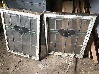 Pair Of Top Opening Crittal Stained Glass Windows