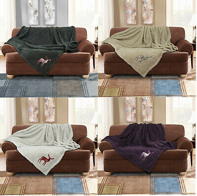 Luxury STAG Embroidered Throw Teddy Soft Fleece Blanket Sofa Throw Bed Throw
