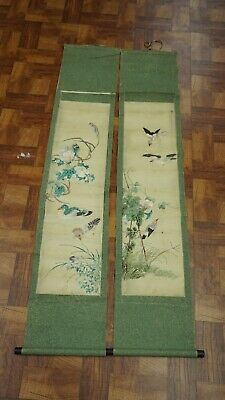 Rare Pair Of Antique Chinese Silk Scrolls With Ducks And Details Qing