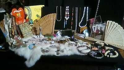 Vtg Antique Junk Drawer Lot Jewelry,Hat Pins,Mirrors, Combs,Fans & Ephemera 70pc