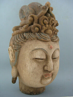"""9"""" Antique Chinese Old Wood Hand-Carved Kwan-Yin Statue"""