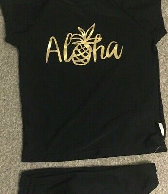 Girls Black Gold Pineapple Aloha Gingerlilly Swim UPF 50+ Protection Suit 4Y