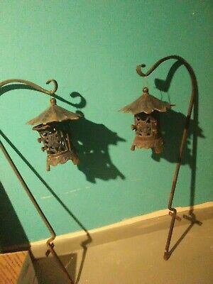 Pair iron Antique Chinese Candle Holder Lantern with Sheppard's hooks