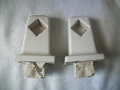 "Old Vintage White Ceramic Bath Room 4 1/2 "" Towel Rod Ends For Restoration"