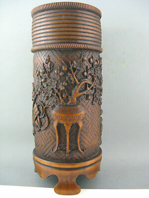 "12"" Antique Chinese Old Bamboo Hand Carved Flower Big Brush Pot Statue"