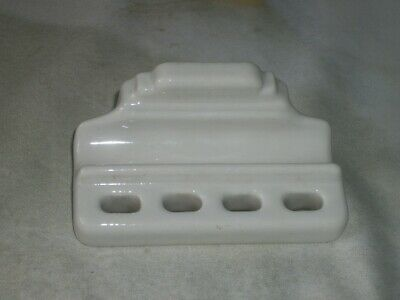 OLd Vintage White Ceramic Bath Room Wall Mount Toothbrush Holder  Restoration
