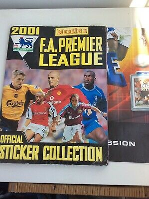 Merlin's Premier League 2001 Complete Football Sticker Album & poster and disc