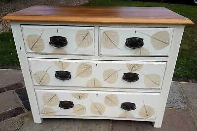 Antique Edwardian chest of drawers, painted and decoupage, upcycled and painted