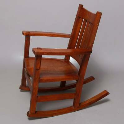 Antique Arts & Crafts Mission Oak Limbert Rocking Chair, circa 1920