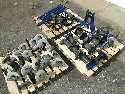 SLING Aerial Cable Lift Block Roller Nylon Pulleys Bars 3 Pole Mount  Lot 34pc