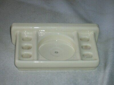 Old Vintage Off White / Beige Ceramic Bath Room Cup / Toothbrush Holder