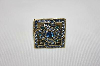 Large Gawdy Costume Jewelry Brass Ring with Green and Blue Stones NICE! LOOK